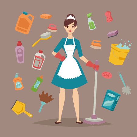 House Cleaner with cleaning tools illustration