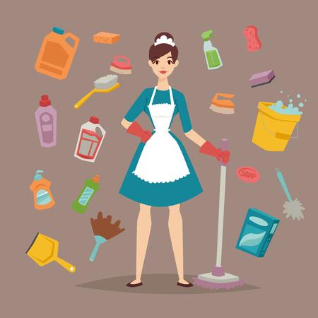 lavar platos: Limpiador de casa con ilustración de herramientas de limpieza