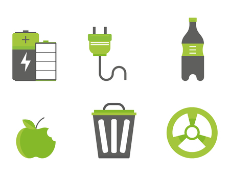 Recycling nature icons. Waste sorting environment creative protection symbols.