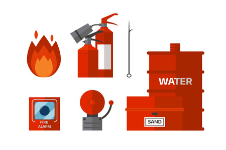 Fire safety equipment. Emergency tools firefighter safe danger accident flame protection vector illustration.