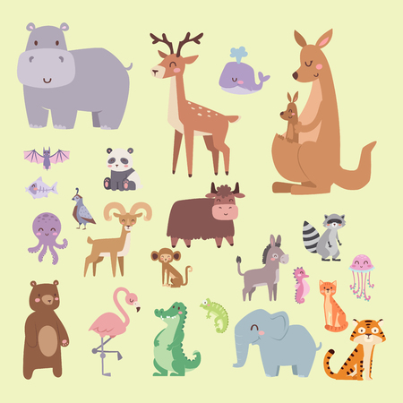 Cute zoo cartoon animals and tropical nature safari characters vector illustration. Ilustracja