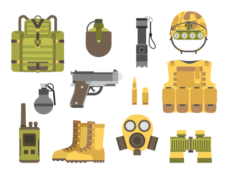Military weapons. Fighter ammunition camouflage sign vector illustration.