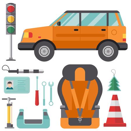 Auto transport automobilist pictogram. Auto bestuurder gereedschap vectorillustratie. Stock Illustratie