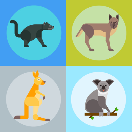 Australia wild animals cartoon popular nature characters flat style and australian mammal aussie native forest collection vector illustration. Illustration