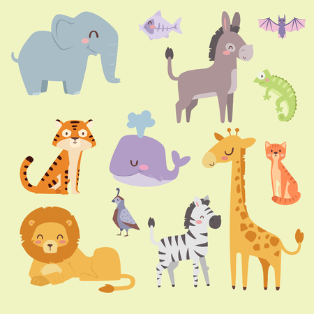Cute zoo cartoon animals isolated funny wildlife learn cute language and tropical nature safari mammal jungle tall characters vector illustration. Ilustracja