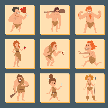masculinity: Caveman primitive stone age cartoon neanderthal people character evolution vector illustration.
