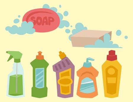 洗剤ボトル化学家事製品のお手入れは、機器洗浄液フラット ベクトル図を洗います。