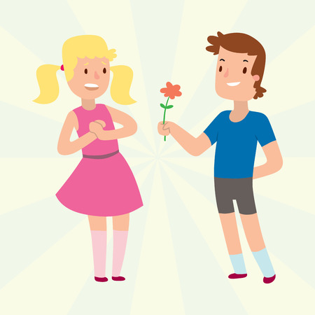 Children happy couple cartoon relationship characters lifestyle vector illustration relaxed friends.