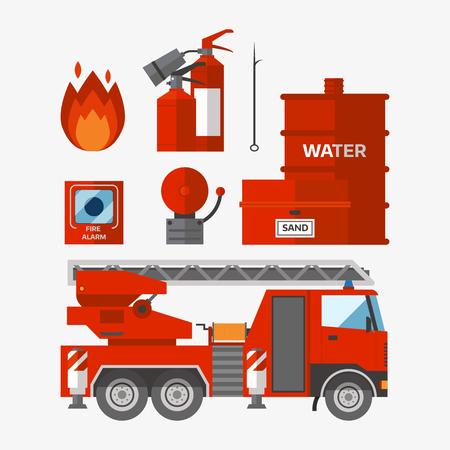 Fire safety equipment emergency tools firefighter safe danger accident flame protection vector illustration. Illustration