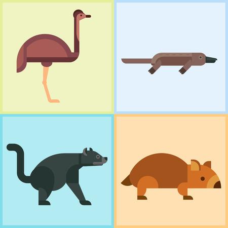 Australia animales salvajes de dibujos animados personajes de naturaleza popular de estilo plano y mamífero australiano aussie colección de bosque nativo ilustración vectorial.