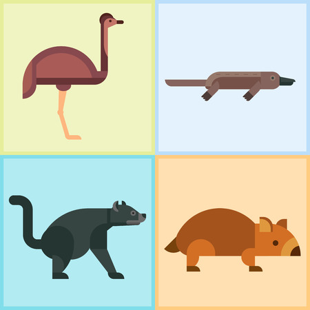 Australia wild animals cartoon popular nature characters flat style and australian mammal aussie native forest collection vector illustration. Stok Fotoğraf - 77394543