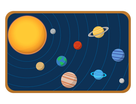 High quality solar system space planets flat vector illustration universe astronomy galaxy science. Illustration