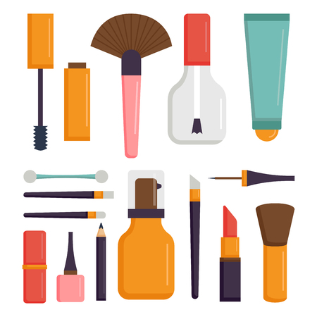 Makeup icons perfume mascara care brushes comb faced eyeshadow glamour female accessory vector. Illustration
