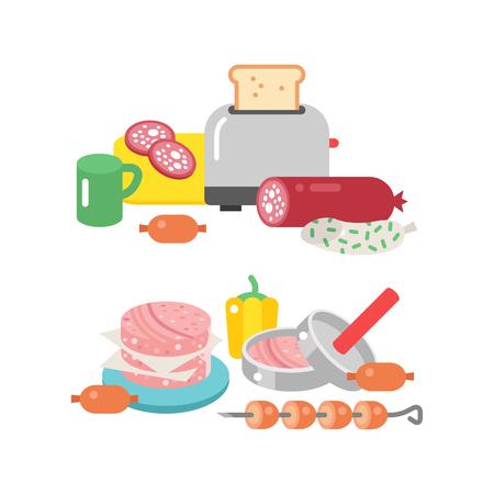 고기 제품 성분 및 소박한 요소 준비 장비 음식 평평한 벡터 일러스트 레이 션. 일러스트