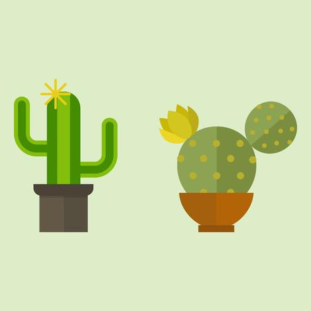 선인장 자연 사막의 녹색 녹색 즙이 많은 식물 선인장 꽃 벡터 일러스트 레이 션. 일러스트