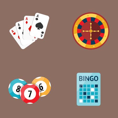 Casino game poker gambler symbols cards money winning roulette joker vector illustration.