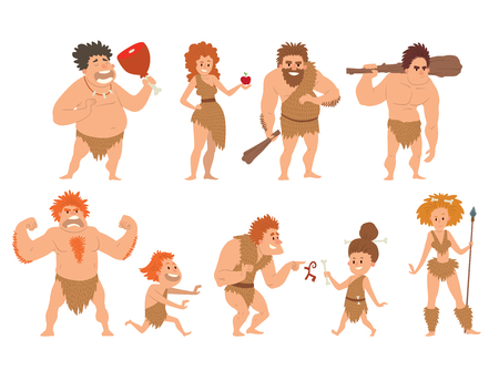 Caveman primitive stone age cartoon neanderthal people character illustration.