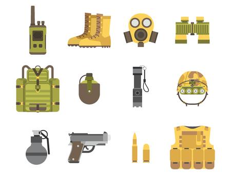 Armement militaire armes à feu armure forces américaines de combat munitions camouflage signe illustration vectorielle. Banque d'images - 77303544