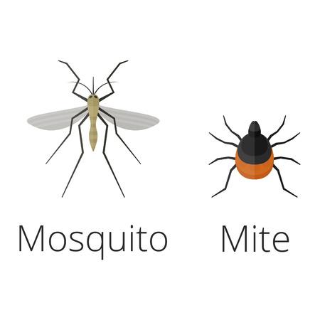 Bunte Insekten Symbole isoliert Wildnis Flügel Detail Sommer Wurm Raupe Bugs wilde Vektor-Illustration. Standard-Bild - 77303552