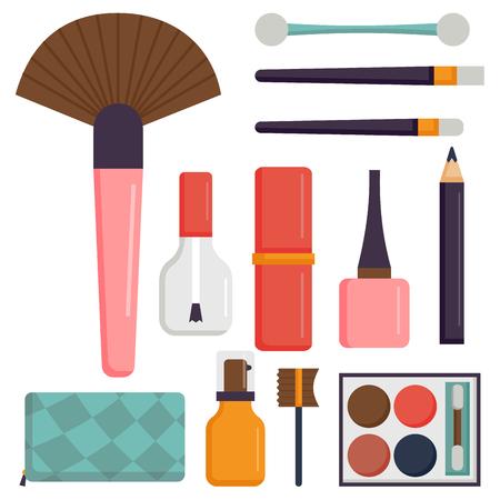 メイクのアイコンは香水マスカラー ケア ブラシくし直面してアイシャドウ グラマー女性アクセサリー ベクトルです。  イラスト・ベクター素材