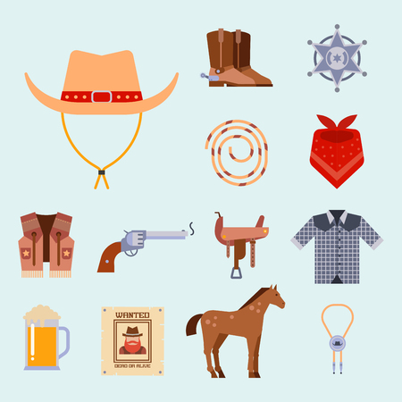 wooden horse: Wild west elements set icons cowboy rodeo equipment and different accessories vector illustration. Illustration
