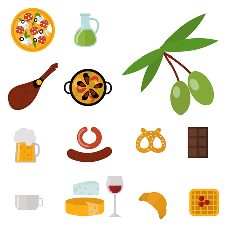 European tasty food cuisine dinner food showing delicious elements flat vector illustration. Stok Fotoğraf - 77303633