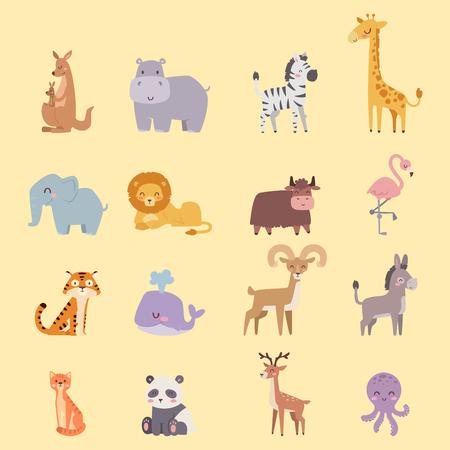 Animaux mignons de bande dessinée zoo drôles de la faune drôle de la faune de la faune et de la vie naturelle mammifère naturel isolé de la faune des mammifères de caractère vecteur illustration Banque d'images - 77379327