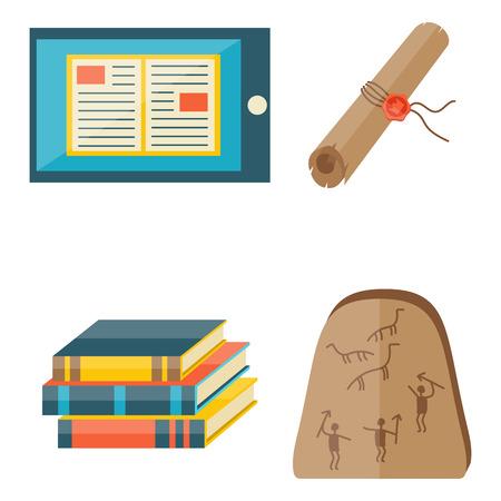 Boeken iconen document tijdschrift publicatie typografie kennis typografie boekwinkel vector illustratie. Stock Illustratie