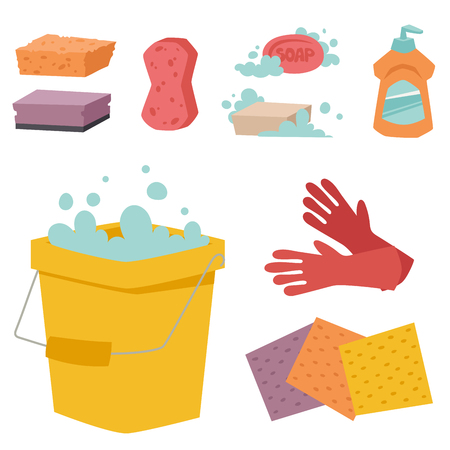 dishwashing liquid: Cleanser bottle chemical housework product care wash equipment cleaning liquid flat vector illustration.