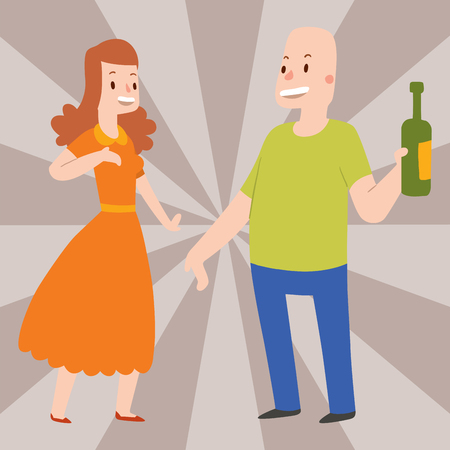 People happy couple cartoon relationship characters lifestyle vector illustration relaxed friends. Vector Illustration
