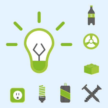 Recycling nature icons waste sorting environment creative protection symbols vector illustration. Stock Vector - 77379544