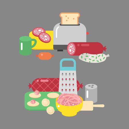 肉製品の成分や素朴な要素準備機器食品フラット ベクトル イラスト。 写真素材 - 77379553