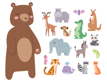 Cute zoo cartoon animals isolated funny wildlife learn cute language and tropical nature mammal jungle tall characters vector illustration.