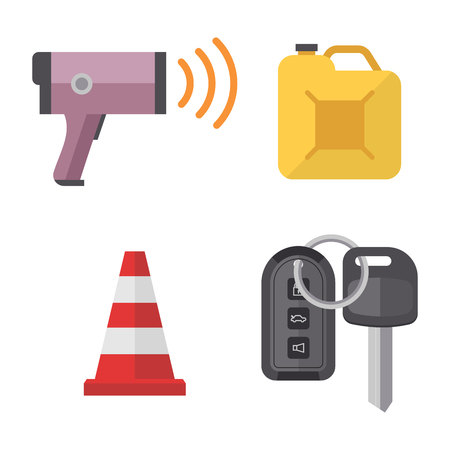 tool unlock: Auto transport motorist icon symbol vehicle equipment service car driver tools vector illustration.