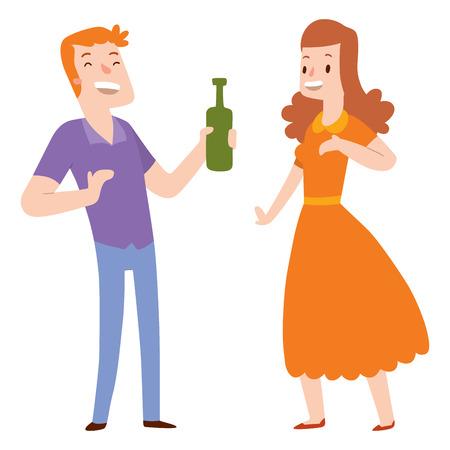Les gens heureux, couple, dessins animés, personnage, personnage, mode de vie, illustration vectorielle