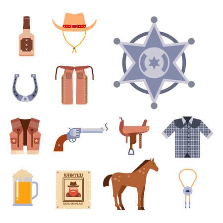 Wild west elements set icons cowboy rodeo equipment and different accessories vector illustration. Stok Fotoğraf - 77586038