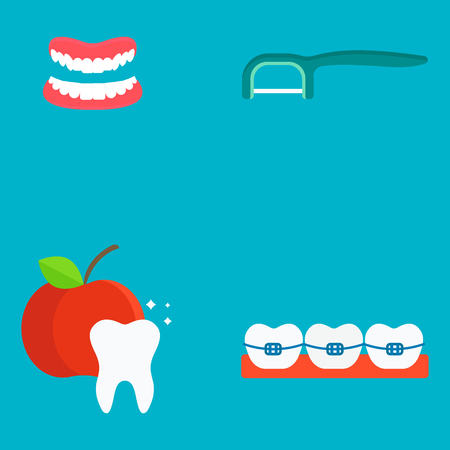 Ejemplo médico del vector de la estomatología de la higiene del instrumento de la medicina de las herramientas del dentista plano de la atención sanitaria. Foto de archivo - 77585910