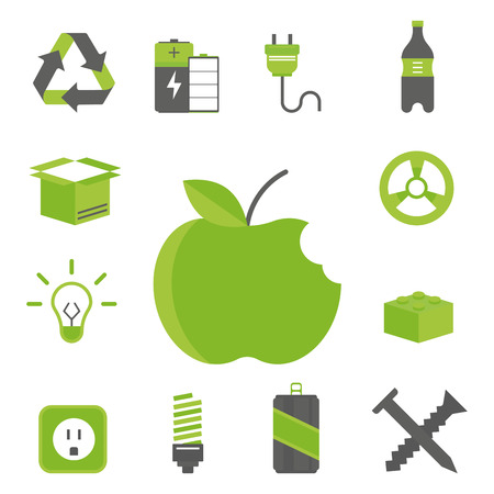segregation: Recycling nature icons waste sorting environment creative protection symbols vector illustration.