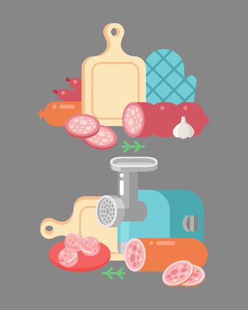Meat products ingredient and rustic elements preparation equipment food flat vector illustration. Illustration