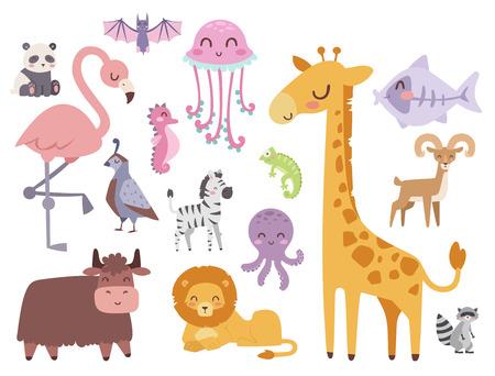 かわいい動物園漫画動物分離面白い野生動物がかわいい言語を学ぶし、熱帯の自然サファリ哺乳類ジャングル背の高い文字ベクトル イラスト。 写真素材 - 77496544
