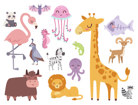 Cute zoo cartoon animals isolated funny wildlife learn cute language and tropical nature safari mammal jungle tall characters vector illustration. Иллюстрация