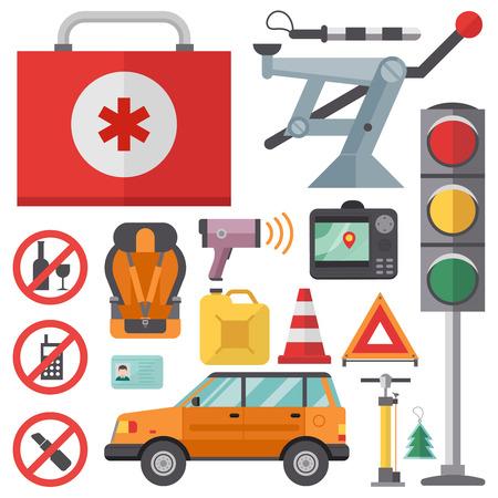 Auto transport motorist icon symbol vehicle equipment service car driver tools vector illustration.