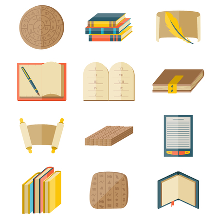 Books icons document magazine publication typography knowledge typography bookstore vector illustration. Ilustração