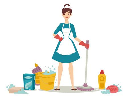 Ama de casa ama de casa limpiando chica bonita limpiador de la colada equipo de productos químicos del hogar equipo de productos. Ilustración de vector