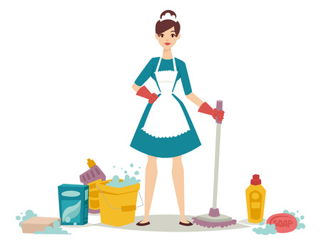 Housewife girl homemaker cleaning pretty girl wash cleanser chemical housework product equipment vector. Stok Fotoğraf - 77496561