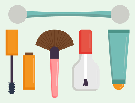 Makeup icons perfume mascara care brushes comb faced eyeshadow glamour female accessory vector. Ilustrace