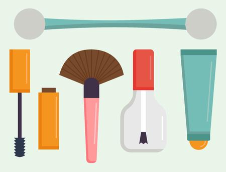 Makeup icons perfume mascara care brushes comb faced eyeshadow glamour female accessory vector. Illusztráció