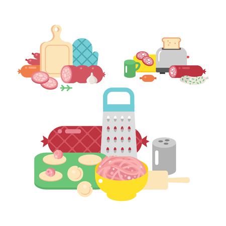 Vleesproducten ingrediënt en rustieke elementen voorbereiding apparatuur eten platte vector illustratie. Stock Illustratie