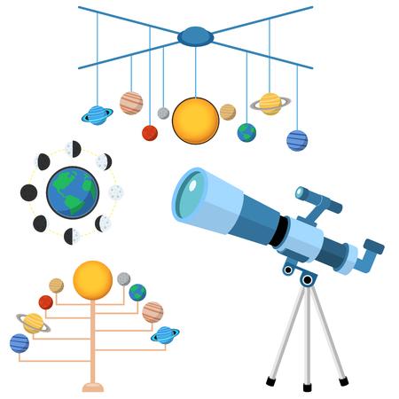 Astrologie astronomie iconen planeet wetenschap universum ruimte radar kosmos teken universum vector illustratie. Stock Illustratie