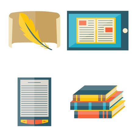 old notebook: Books icons document magazine publication typography knowledge typography bookstore vector illustration. Illustration
